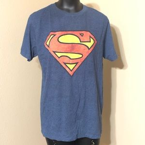 Superman Blue Tee with Distressed screen print